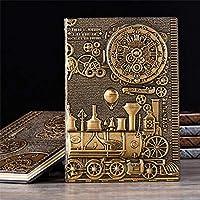 ノート 救済レトロノートブックA5マシンテーマビンテージハードカバー日記ノートブックギフト 用 (Size:Free Size; Color:Gold)