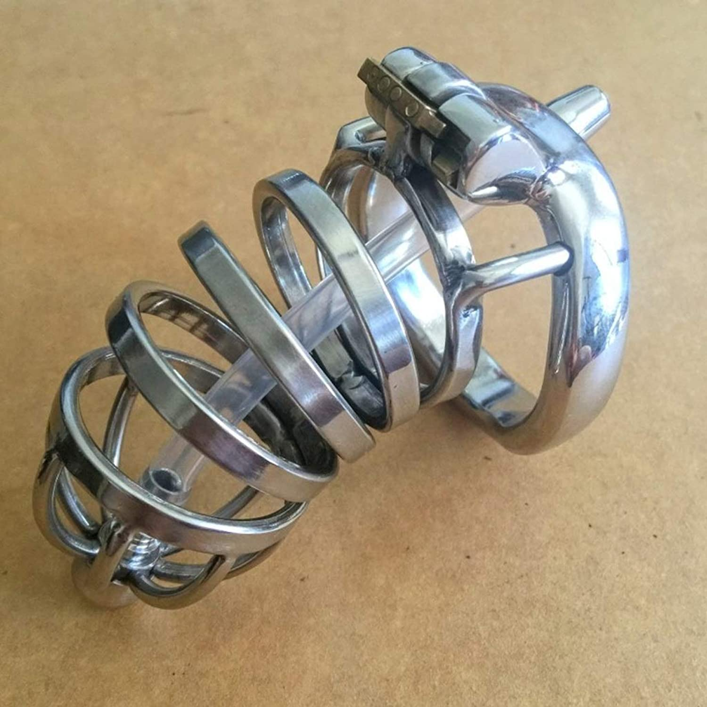 SLH Men's Stainless Steel Virginity Lock Pants with Alternative Toys Penis Horse Eye Stimulating Device Anti-Track Lock
