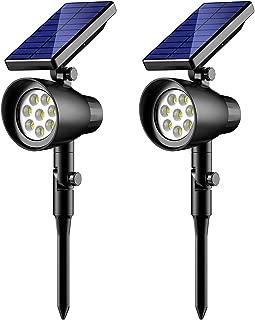 InnoGear Solar Light 8 LED Wireless Waterproof Solar Spotlight Adjustable Wall Light Landscape Light Security Lighting Outdoor Light for Patio, Deck, Yard, Garden Auto On/Off, Pack of 2