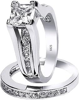 MABELLA 925 استریلینگ نقره ای مکعبی زیرکونیا پرنسس برش نامزدی عروسی زنان مجموعه حلقه های عروس