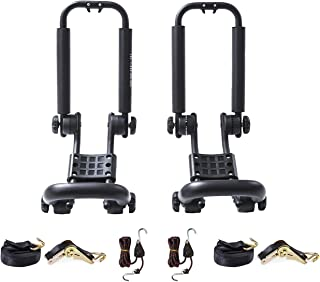 AA Products Double Folding J-Bar Rack for Kayak Carrier Canoe Boat Paddle Board Surfboard Roof Top Mount on Car SUV Truck Crossbar with Ratchet Lashing Straps & Bow and Stern Tie Down Straps