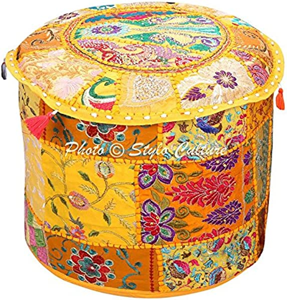 Stylo Culture Indian Vintage Pouf Ottoman Foot Stool Cover Round Patchwork Embroidered Pouffe Ottoman Cover Yellow Cotton Floral Traditional Furniture Footstool Seat Puff Cover 22x22x14