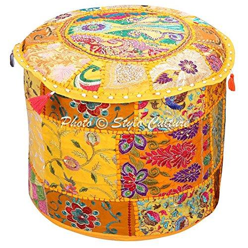 Taburete de pie y cubierta del puf Asiento de puf otomano grande Amarillo bordado indio de la India Patchwork Funda de otomano de Puño redondo tradicional de tela de algodón (22x22x13 pulgadas) 55cm