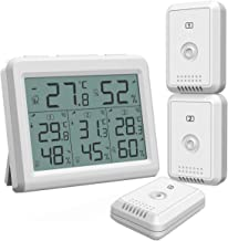 AMIR (2019 New) Indoor Outdoor Thermometer, Temperature Humidity Monitor with 3 Wireless Sensors, Humidity Gauge with LCD Backlight, Room Thermometer Hygrometer for Home, Office, Baby Room