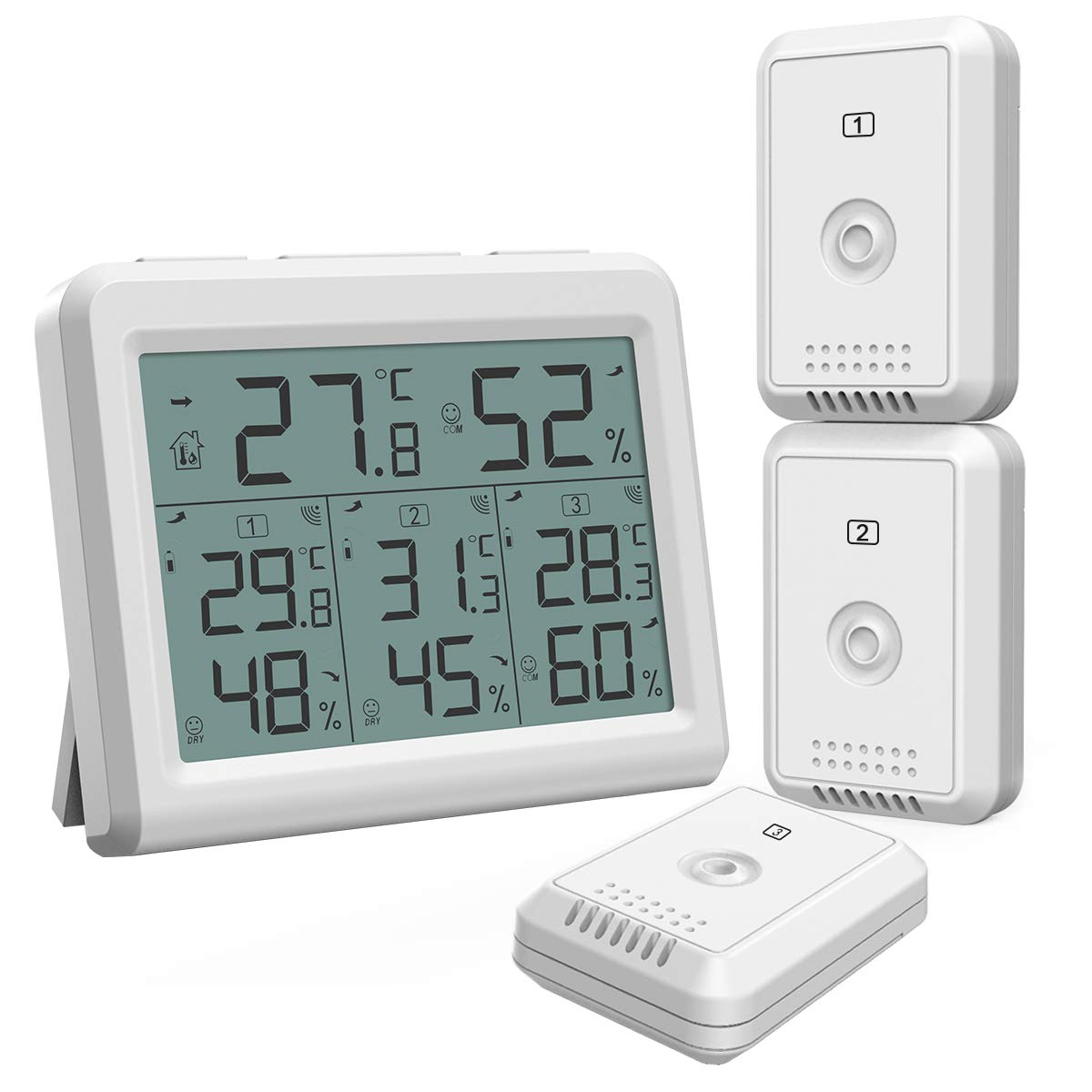 YFYIQI Digital Thermometer Hygrometer Indoor Outdoor Thermometer Humidity Monitor Temperature Humidity Tester Gauge Meter Time Clock HTC-1 with MAx Min Value for Home Office Greenhouse