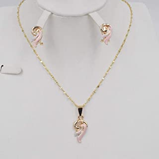 New Unique Gold Necklace Collocation Fashion Circular Pendant Earrings Jewelry For Women In Dubai (Gold-Color)