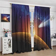 GUUVOR Outer Space Blackout Curtain Comet Tail Approaching Planet Mars Fantastic Cosmos Dark Solar System Scenery 2 Panel Sets W84 x L108 Inch Bue Orange