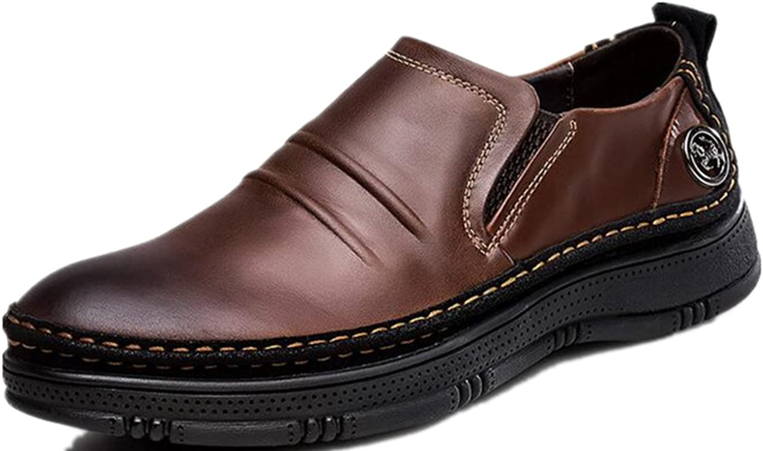 Dalinfa Men's Thick-soled Leather Increased color Leather Business Casual Large Size shoes