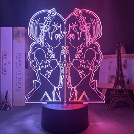 Anime Rem Re Zero Figure Night Light Led Touch Sensor Color Changing 3D