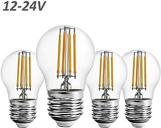12 Volt 24 Volt 12V-24V Low Voltage G15 LED Light Bulb RV Camper Marine 2W 250lm Edison Incandescent Bulb 25W Off Grid Solar Battery System Lighting Standard E26 Base Warmwhite 2700K (Pack of 4)