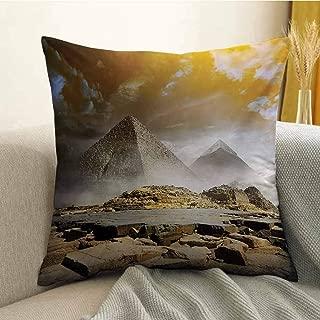 Egyptian Printed Custom Pillowcase Storm Clouds Over Pyramids Magical Photo of Ancient Culture Icons Eastern Art Decorative Sofa Hug Pillowcase W16 x L16 Inch Cream Orange