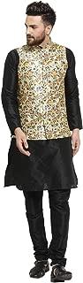 Ben Martin Men's Silk Blend Kurta Pyjama and Printed Modi Jacket-(BM-WS-PNT-KT-BLK-PJ-BLK)