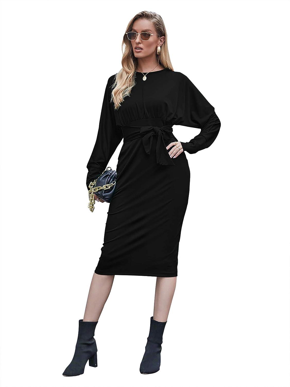 Radtengle Women's Slim Style Long Sleeve Elegant Crew Neck Business Pencil Dress with Belt