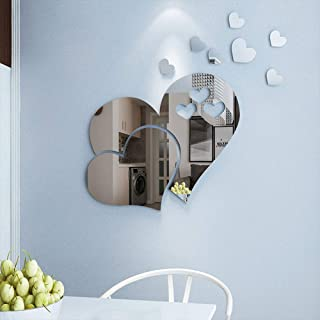 Heart Shape Mirror Wall Sticker 3D Art Wall Decal Removable Mirror Wall Sticker for St. Valentine's Day Home Decoration