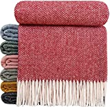 STTS International Wolldecke Wohndecke Tagesdecke Schurwolldecke 100% Schurwolle Woll-Plaid 140 x 200 cm Tirol Rot