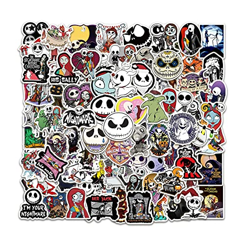Nightmare Before Christmas Stickers 100pcs Halloween Stickers Cute Anime Stickers Gifts Vinyl Waterproof Cool Decals for Teens Adults Laptop Hydro Flask ipad Phone Guitar Luggage