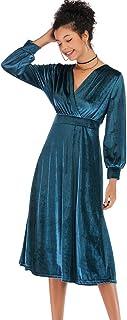 Topgrowth Vestito Donna Eleganti Abito in Velluto con Scollo A V sul Retro Attraversare Manica Lunga Vestito Grande Swing ...
