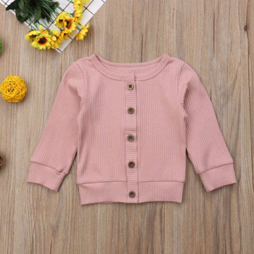 Infant Baby Girl Winter Clothes Long Sleeve Knitted Sweater Solid Plain Button Down Outerwear Cardigan