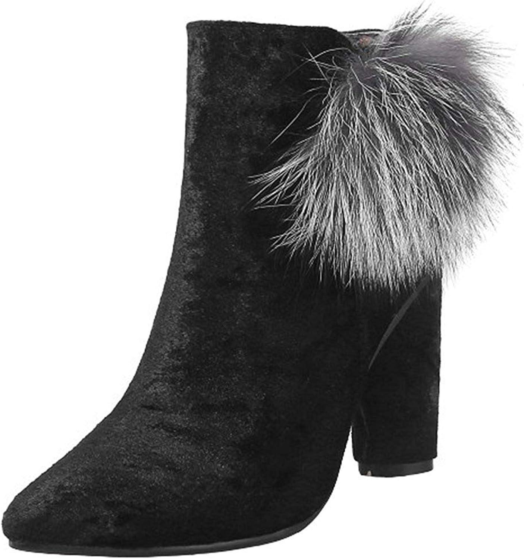 Lelehwhge Women's Sexy Velvet Fluffy Pompon Side Zipper Ankle Booties Pointed Toe Block High Heel Short Boots Black 4 M US