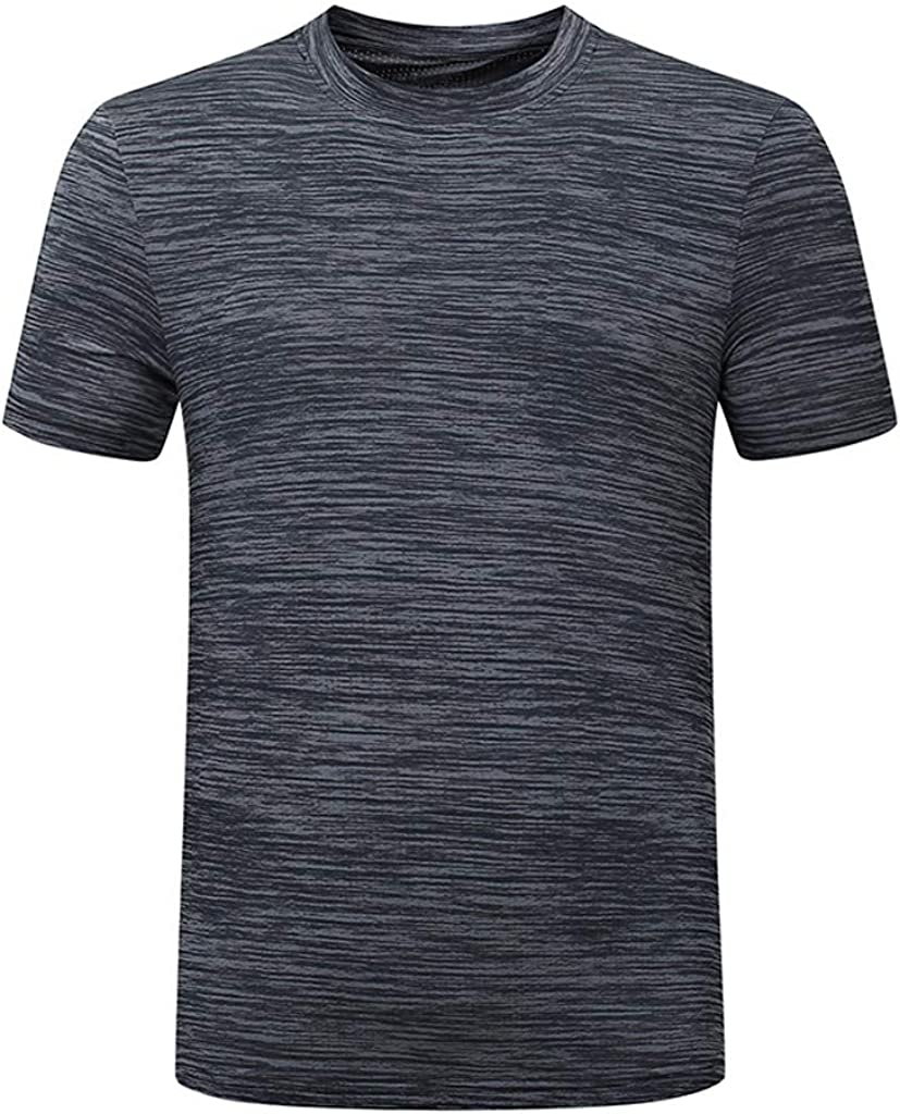 Mens Workout T-Shirts Quick Dry Short Sleeve Casual Summer Tees Plus Size Big and Tall Stretch Shirt Gym Sports Tops