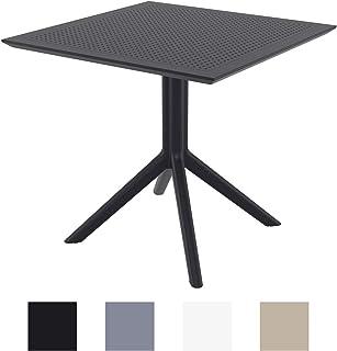 CLP Mesa Auxiliar Sky 80x80 cm I Mesa de Jardín Resistente a la Intemperie & Rayos UV I Mesa de Plástico de Interior y/o Exterior I Color: Negro