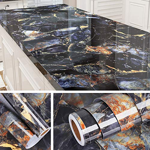 Livelynine 197 X 36 Inch Wide Contact Paper Blue Marble Countertop Adhesive Wallpaper Peel and Stick Countertops for Kitchen Desk Cover Table Vinyl Counter Top Waterproof