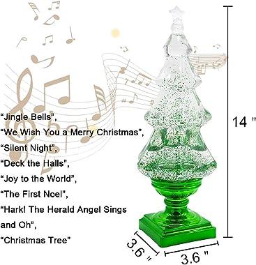 DRomance Snow Globe Christmas Tree with Music, LED Light-up X-mas Tree Musical Snow Globe, Battey Powered and USB Cord Christ