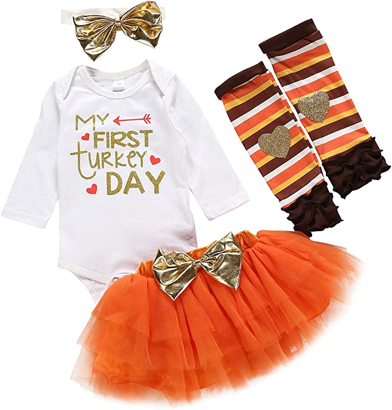 4Pcs Baby Girl My First Thanksgiving Outfit Turkey Letter Print Romper Tutu Skirt Love Leg Warmers Headband Clothes Set