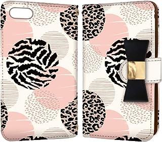 anve iPhone7Plus iPhone 7 Plus 国内生産 ミラー スマホケース 手帳型 Apple アップル アイフォン セブンプラス 【A.ピンク】 アニマル柄 ドット風 best_vc-906-ribbon