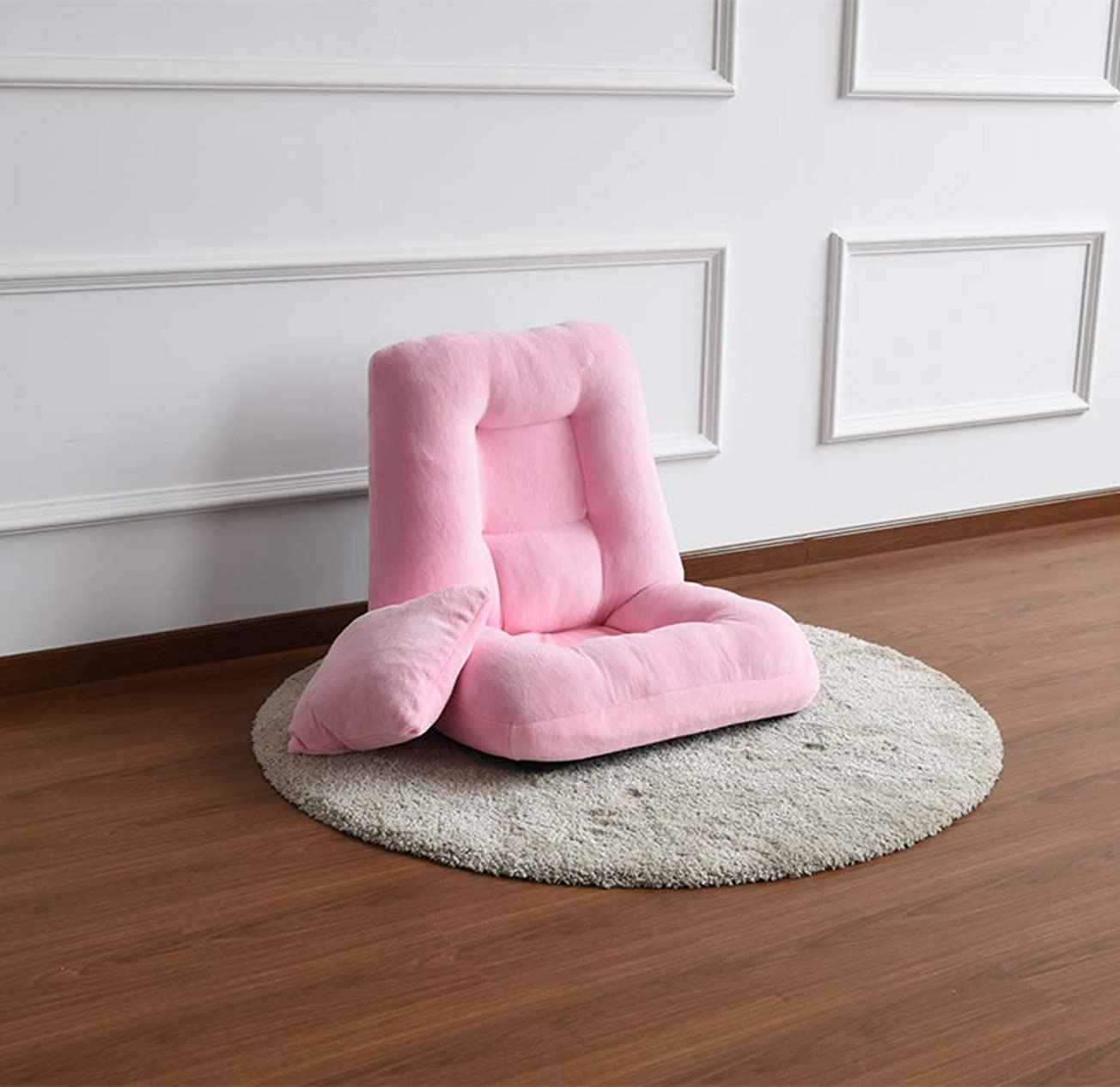 アンペア条件付き勇敢な日本語 フロアチェア バルコニーの,怠惰なソファ,可能 折り畳み式 ベッド コンピュータチェア 14 の速度調節できる背もたれのサポート-ピンク