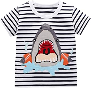 Yoriko Boys Short Sleeve Cotton T Shirts Tops Tee (White Whale, 3T)