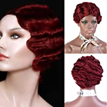 DIFEI 7 Colors Women Black Blonde Golden Brown Pink Blue Wine Red Short Finger Wave Curly Wigs Nuna Wigs Janet Collection (BUG)