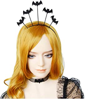 Halloween Cosplay Spider Web Devil Horn Hair Hoop Headband Headdress Hallowmas Party Gift Urchart (Bats)
