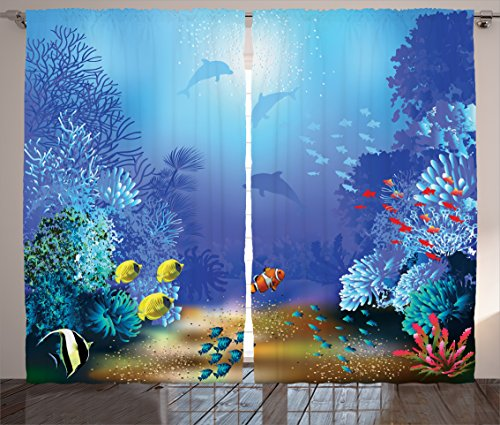 Ambesonne Ocean Animal Decor Curtains, Underwater Coral Reef Polyps Algae Dolphins and Goldfishes Bubbles Deep Print, Living Room Bedroom Window Drapes 2 Panel Set, 108W X 63L Inches, Blue
