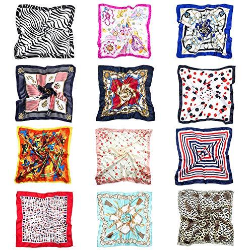 Joeyer 12 Stück Halstuch Damen Seidentuch Bandana Faux Seidenschal Quadrat Satin Nickituch Kopftuch Vierecktuch (50 x 50cm)