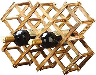 gzshengqi Foldable Wooden Wine Rack,6-10 Bottle Wine Holder,Freestanding Wine Cabinet, Wine Storage Shelves (10 Bottle Rack)