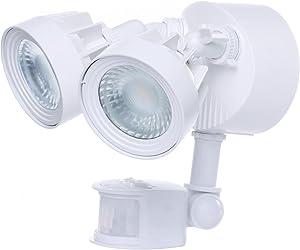 LED Security Light; Dual Head; Motion Sensor Included; White Finish; 4000K; 2000 Lumens - Set of 4