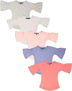 MISS POPULAR Girls 5 Pack Short Sleeve T Shirt with Ruffle Sleeve Design Size 4-6X | Fashion Top for Girls