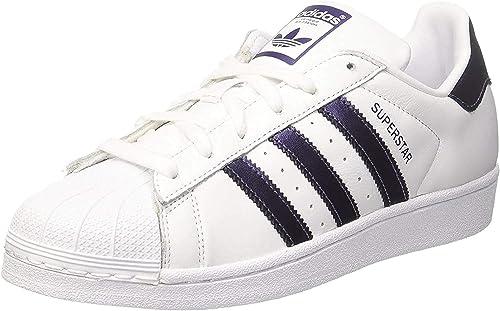 Adidas Superstar Sneakers Basses, Femme, Blanc/Argenté