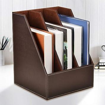 Multi-Functional Desktop Organiser Leather Letter Trays File Rack Paper Holder Organizer Book Holder Magazine Organizers,Brown File Racks File Holder Desktop Organizer