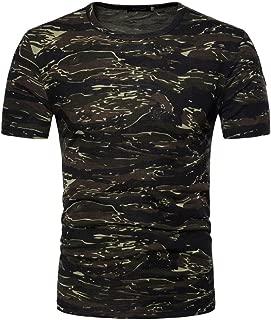 Zulmaliu Camouflage Print Short Sleeve T Shirt Cool Round Collar Men Summer Tops Shirt