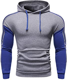 Pullover Men Tops Hoodie Long Sleeve Patchwork Drawstring Pockets Slim Sweatshirt Warm Soft Comfortable Jacket Autumn Wint...