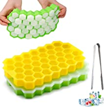 2 Pack Ice Cube Trays, Silicone Honeycomb Shape Ice Cube Molds wih Lids Make 74 Ice Cube for Whiskey, Cocktail, Stackable ...