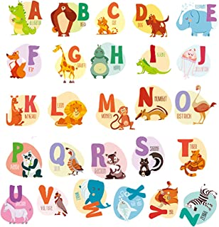 Animal Alphabet Decals ABC Wall Decals Stickers Peel and Stick Vinyl A-Z Alphabet Wall Decor for Kids Nursery Baby Room (Big Elephant)