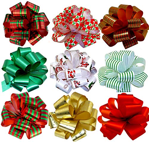 Christmas Gift Wrap Pull Bows - 5' Wide, Set of 9, Metallic Red, Green, Gold, Stripes, Plaid, Buffalo Check, Ribbons for Christmas Presents, Wreaths, Swags, Giftwrapping
