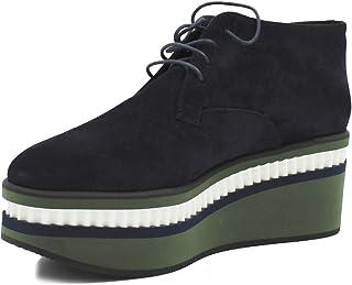 Robert Clergerie - Zapatos de Cordones de Cuero para Mujer Blue Verde Bianco