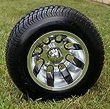 10' REVOLVER Machined Aluminum Golf Cart Wheels and 205/50-10 DOT Golf Cart Tires Combo - Set of 4