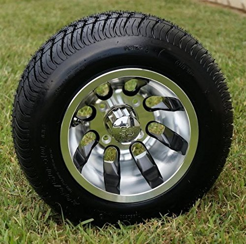 "10"" REVOLVER Machined Aluminum Golf Cart Wheels and 205/50-10 DOT Golf Cart Tires Combo - Set of 4"