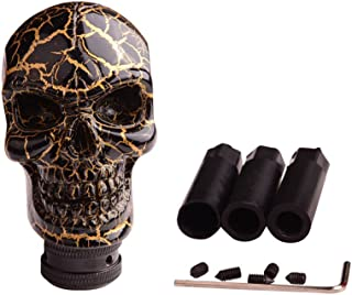 SMKJ Universal Bone Resin Skull Head Style Car Shift Knob Shifter Knobs Lever Gear Stick for Most Manual or Automatic Transmission Vehicles(Gold)