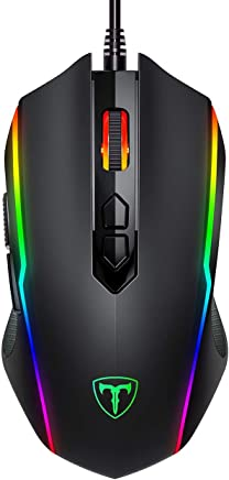VicTsing Mouse Gaming【Nueva Versión】8 Botón Programable, Ratón Gamer RGB con Cable USB, 1200/2400/3500/5500/7200 DPI, Programable con Cool Retroiluminado, Ratones Gaming con Interruptor Independiente de Luz para Windows7/8/10/XP/Vista
